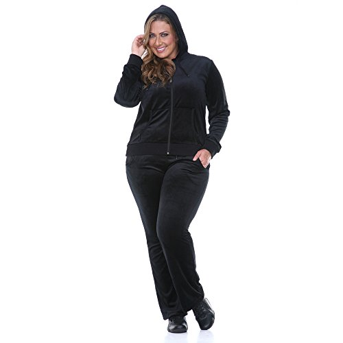 b0526ebcb92 White Mark Women s 2 Piece Plus Size Velour Set in Black - Solid Colors -  Buy Online in Oman.