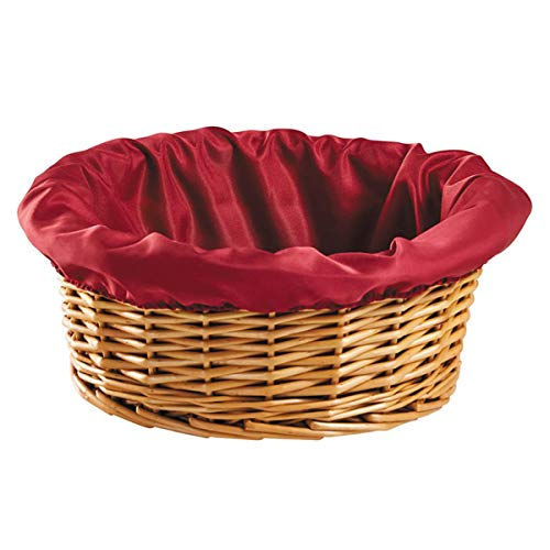 Basket Round Reed (Round Church Offering Basket with Removable Burgundy Liner, 12 Inches)