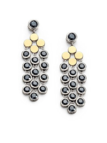 John Hardy Collection - John Hardy STERLING SILVER & 18K GOLD HEMATITE DOT CHANDELIER EARRINGS NEW 5E