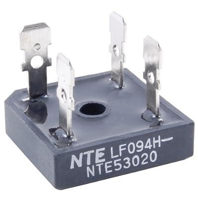 NTE Electronics NTE53016 Silicon Bridge Rectifier, Full Wave, Single Phase, Low Profile Epoxy Case, 50 Amps Maximum Output Current, 200V Maximum Recurrent Peak Reverse Voltage