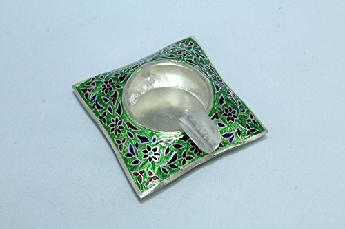 PH Artistic Indian Handcrafted Handmade Traditional India Green Enamel Cloisonne Work On 925 Sterling Silver Hallmarked Ash Tray Decorative gift item (Sterling Ashtray)