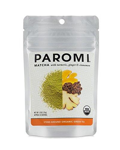 Paromi Tea Matcha with Turmeric, Ginger & Cinnamon 1.23 Oz, Organic Stone-Ground Organic Green Tea, Serve Hot or Iced, Blend, Whisk, Stir, or Shake into Water or Milk