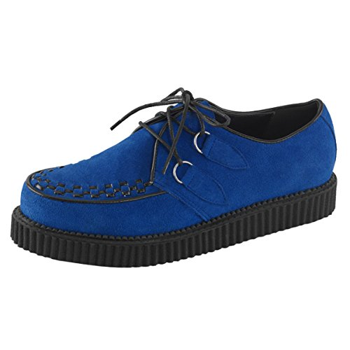 Summitfashions Mens Blu Scarpe Scamosciate Piattaforma Creepers D-ring Lace Up Oxford Piattaforma Da 1 Pollice