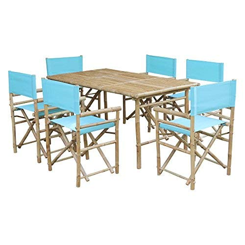 Zew SET-015-0-06 Bamboo Rectangular Table with 6 Director Chairs ()