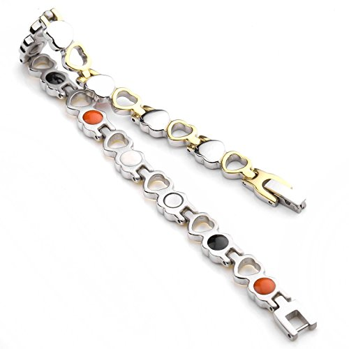 Jovivi Bracelet Coeur Ciselé Acier Inoxydable Energie avec Elements Anion Germanium Rayon Infrarouge Doré&Argenté