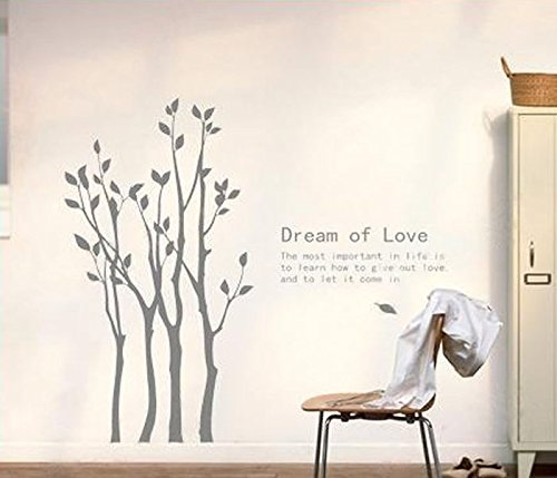 Rousmery Removable Vinyl Art Wall Decals Mural for Nursery Room,Birch Trees and Quotes Dreams Wall Decor (Gray)