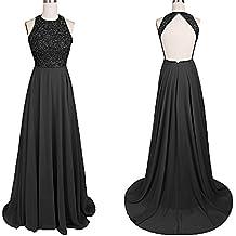 Tutu.Vivi Women's Halter Prom Dresses Long Beaded Sequin Ball Gown Chiffon ZJ079