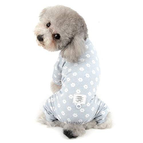 SELMAI Floral Dog Pajamas Cat Pjs Sleepwear Breathable Soft Cotton Elastic Band Cat Apparel Pet Costume Onesies for Small Puppy Girls Shirts Doggies Jumpsuit Easy on Spring Summer Clothes Blue M