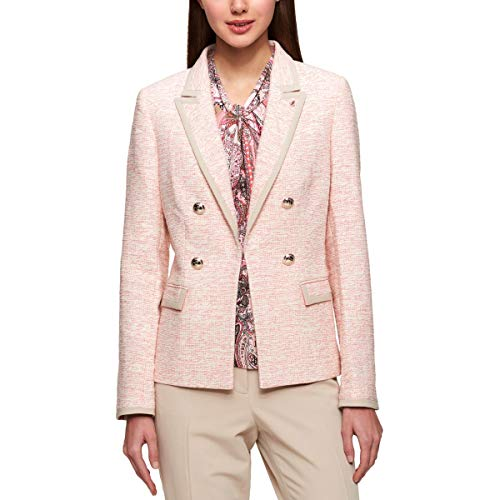 Tommy Hilfiger Womens Tweed Wear to Work Double-Breasted Blazer Pink 8