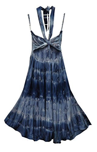 Raya Sun Scarf Tie Dye Smock Dress Navy MED
