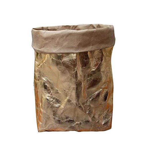 Washable Kraft Paper Bag Plant Flowers Pots Multifunction Home Storage Bag Reuse (Rose Gold) ()