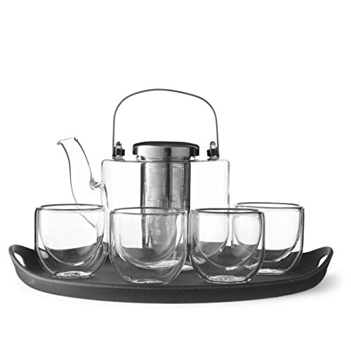 VIVA Scandinavia Bjorn Infusion Teapot Set with 2 Classic Double-Walled Glasses, 44-ounce