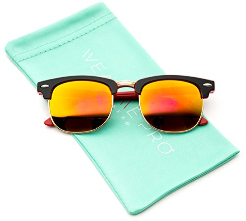 WearMe Pro - Kids Mirrored Lens Clubmaster Sunglasses (Red, - Sunglases Baby