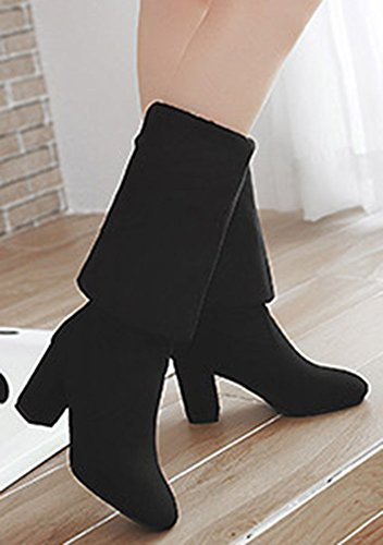 Easemax Women's Trendy Round Toe Chunky Mid Heels Pull On Faux Suede Over Knee High Boots Black PabqwHl