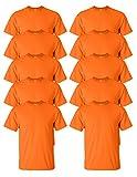 Gildan mens Ultra Cotton 6 oz. T-Shirt(G200)-SAFETY ORANGE-L-10PK