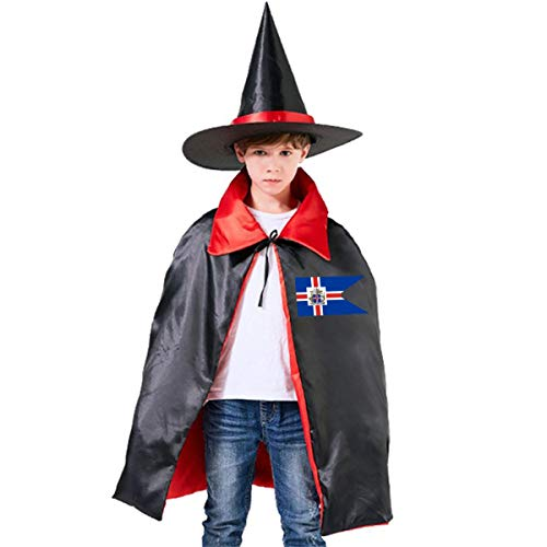 Kids Flag Of Iceland Halloween Party Costumes Wizard Hat Cape Cloak Pointed Cap Grils Boys -