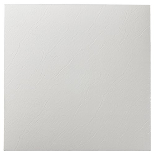 Roman Palace Collection 20 Pack of 12'' x 12'' Self Adhesive High Gloss (No Wax) Finish 1.2mm Thick Vinyl Tiles - White