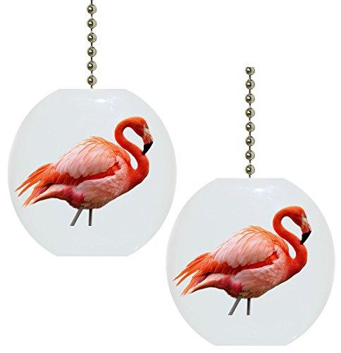 Carolina Hardware and Decor Set of 2 Beautiful Pink Flamingo Solid Ceramic Fan Pulls