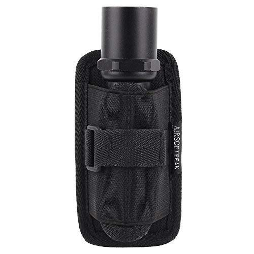 (AIRSOFTPEAK Flashlight Pouch Holster Carry Case Holder with 360 Degrees Rotatable Belt Clip, Black)