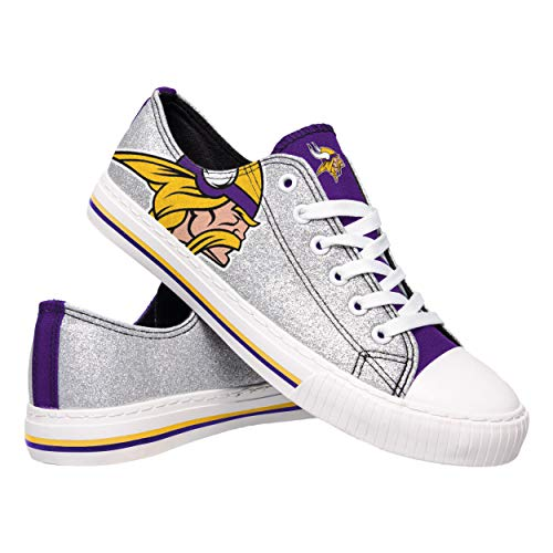 Vikings Gear Minnesota (FOCO NFL Minnesota Vikings Womens Glitter Low Top Canvas Shoesglitter Low Top Canvas Shoes, Team Color, 9/X-Large)