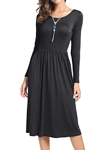 UNIFACO Women's Swing Midi Dress with Pockets Long Sleeve Casual Pleated Long Dresses Black Small from UNIFACO