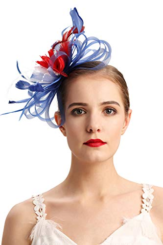 Czioe Flower Cocktail Tea Party Headwear Feather Fascinators Top Hat for Girls and Women (3-flag -