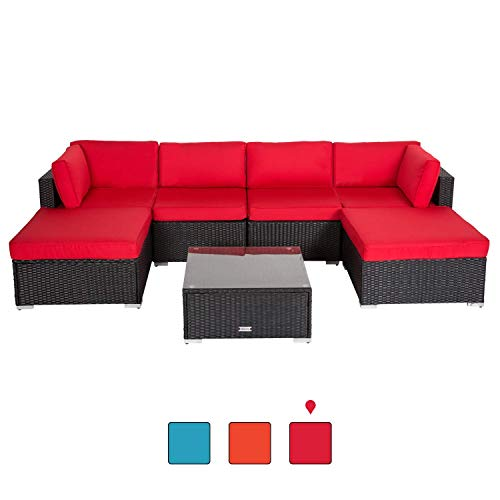 Peach Tree 7PCs Outdoor Patio Furniture Sectionals PE Wicker Rattan Sofa Set with 2 Ottomans Red