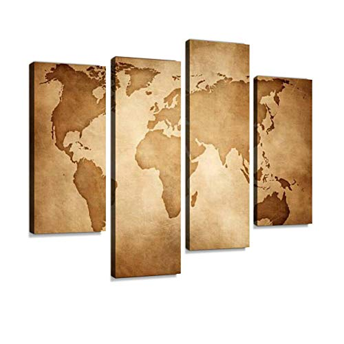 - Aged Style World map, Paper Texture Background Canvas Wall Art Painting Pictures Modern Artwork Framed Posters for Living Room Ready to Hang Home Decor 4PANEL