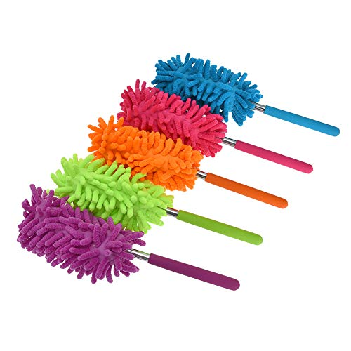 Phoenixes Retractable Long-Reach Washable Dusting Brush Microfiber Hand Duster with Telescoping Pole (5 PCS)