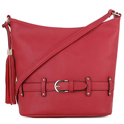 DELUXITY | Crossbody Hobo Slouch Bucket Purse Bag | Functional Multi Pocket with Tassel and Belt | Adjustable Strap | Red