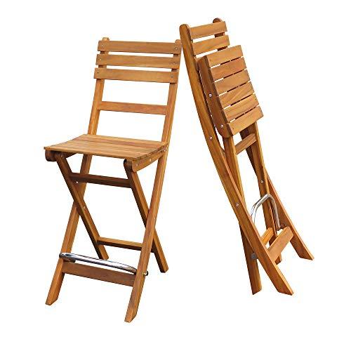 Interbuild Sofia Bar Chair Golden Teak Finish  Foldable   2-Piece Set ... (Patio Vegas Wicker Furniture Las)
