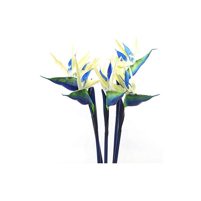 silk flower arrangements warmter 32.5 inch large elegant bird of paradise artificial flower for home office 3 pcs (blue)