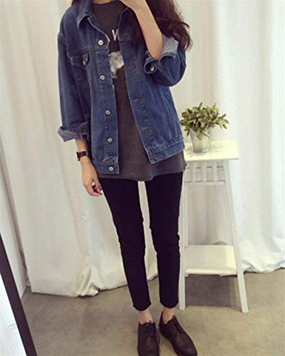 Manica Primaverile Tasche Donna Con Fashion Giacca Donne Solidi Button Bavero Vintage Lunga Casuale Denim Jeans Blau Battercake Giacche Colori Autunno Outerwear Elegante Cappotto Z0qH0