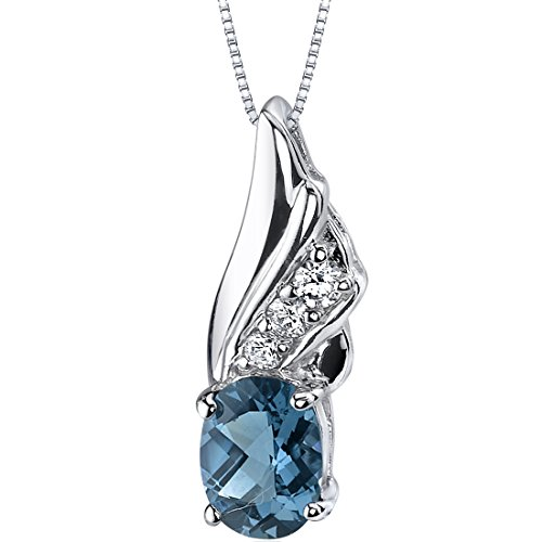 Carats Oval Shape (Graceful Angel 1.50 carats Oval Shape Sterling Silver Rhodium Nickel Finish London Blue Topaz)
