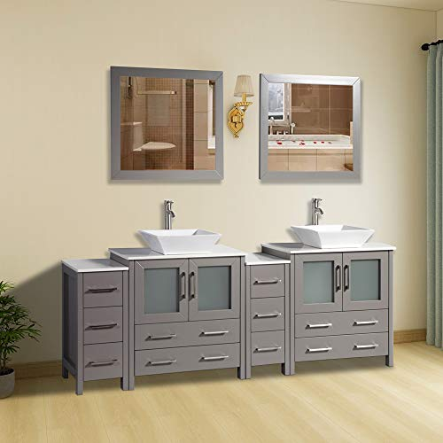 Vanity Art 84 inch Double Sink Bathroom Vanity Combo Set 10-Drawers, 2-Shelves, -