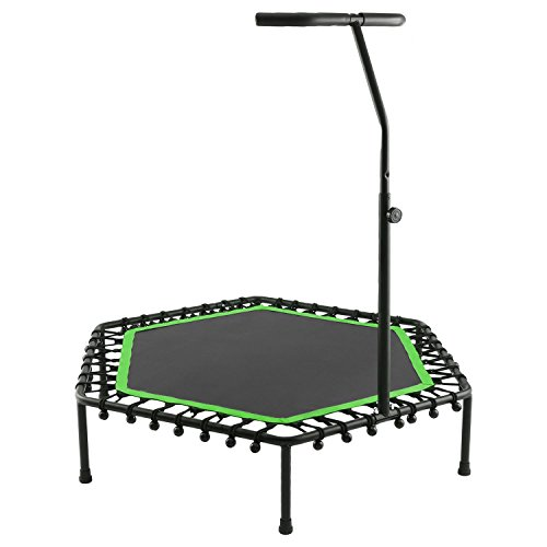 mewalker Foldable Exercise Trampoline Cardio Trainer with Handle ASG-40 for Adults and Kids- Indoor Fitness Mini Elastic Bands Rebounder Trampoline for Kids with Adjustable Handle (US Stock) (Green) by mewalker
