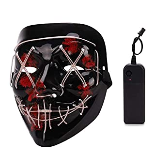 Depointer Halloween Scary Mask Cosplay Led Costume Mask EL Wire Light up Halloween Festival Party(White)
