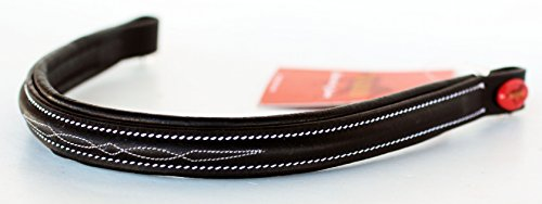 TackRus Horse English Padded Leather Show Bridle Browband Fancy Stitch 803435BKF
