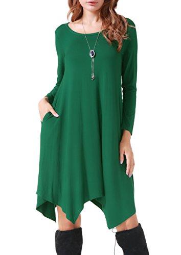 Invug Women Casual Loose Soft Crewneck Long Sleeve Pockets Swing T-Shirt Dress Dark Green XXL
