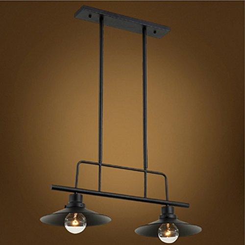 Flush Mount Ceiling Light European Industry Retro Style Pendant Lamp Black Wrought Iron Lighting Fixture 2 Heads Hanging Lights (Flush Light Two Retro)