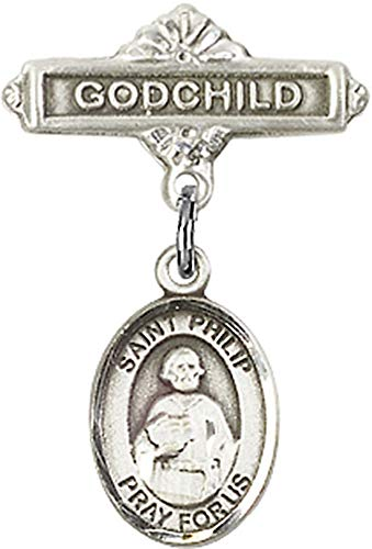 - Sterling Silver Baby Badge with St. Philip the Apostle Charm and Godchild Badge Pin St. Philip the Apostle is the Patron Saint of Hatters/Pastry Chefs 1 X 5/8