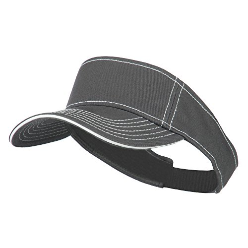 Contrast Stitch Sandwich Visor - Charcoal White OSFM (E4hats Plaid Hat)