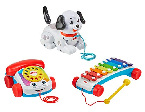 Fisher Price Pull Along Basics Gift Set 3 Classic Pull Toys for Infants and Toddlers Ages 12 Months and Older [Amazon…