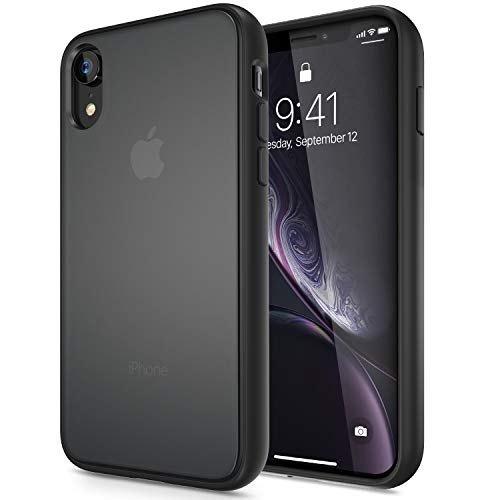 iPhone XR Case, CASEKOO Black Protective SGS Mil-Grade Certified Case with Heavy Duty Drop Shockproof Bumper Gray Matte Finish Back 10R Cover [Guardian Series] - Misty - Case Black Bezel