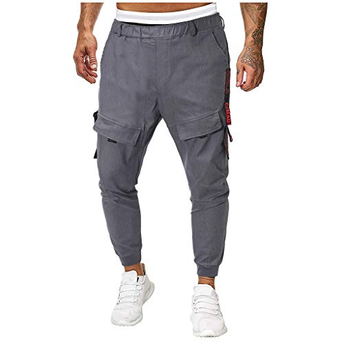 - Casual Splicing Pure Color Overalls Men's Pocket Sport Work Casual Trouser Pants Gray