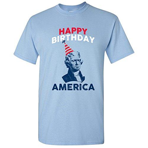 (UGP Campus Apparel Thomas Jefferson Happy Birthday America - USA 4th of July Patriotic T Shirt - Medium - Light Blue)