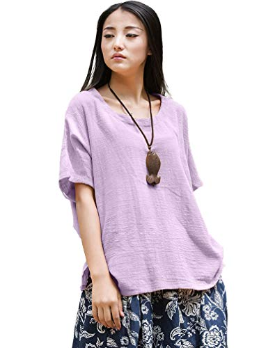 Soojun Women's Casual Loose Short Sleeve Round Collar Cotton Linen Shirt Blouse Tops Purple, One Size ()