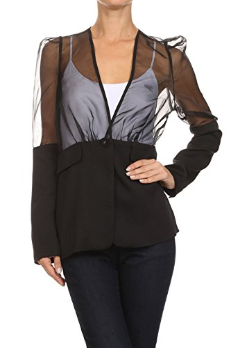 Bangbangusa Womens Mesh Paneled Long Sleeves (Mesh Blazer)