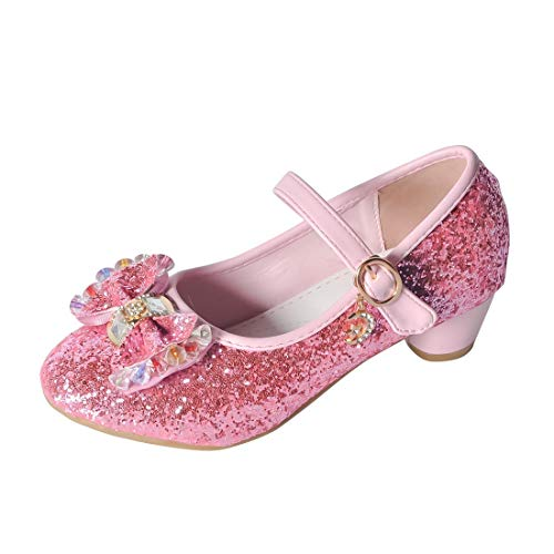 O&N Kids Girls Mary Jane Wedding Party Shoes Glitter Bridesmaids Low Heels Princess Dress Shoes Pink 11 M US Little Kid]()
