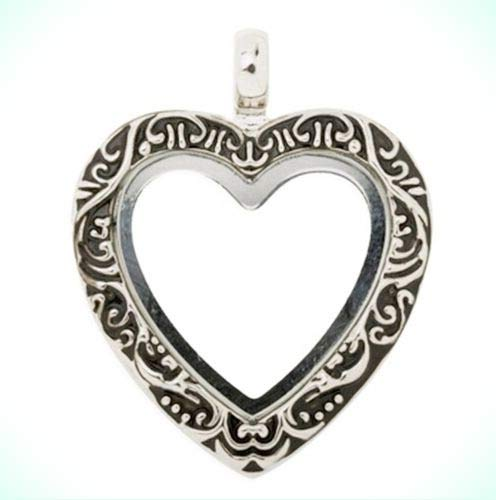 Floating Charms 27mm Antiqued Silver Heart Memory Locket Pendant with 20